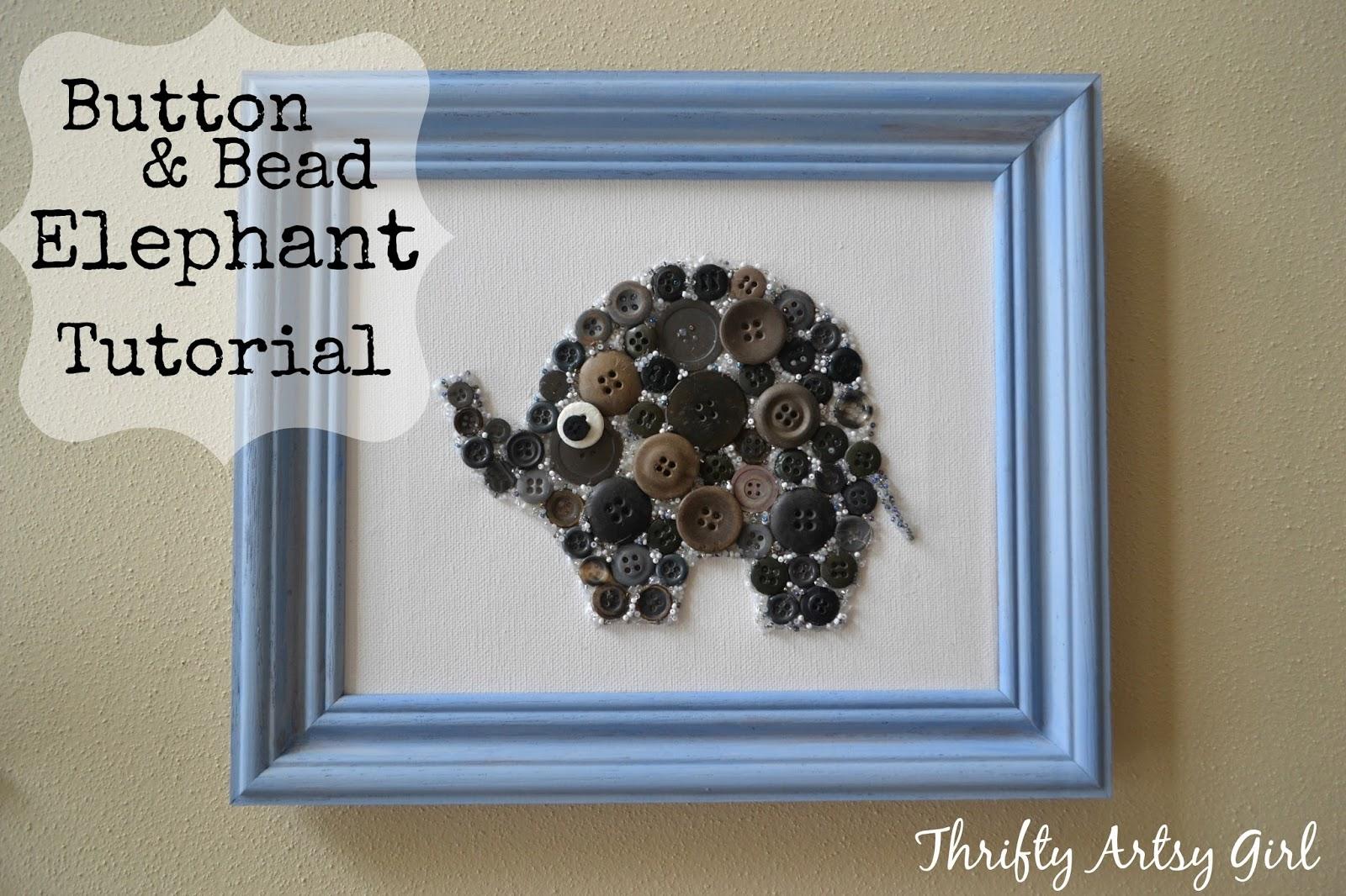 Easy DIY Button And Bead Elephant Nursery Wall Art