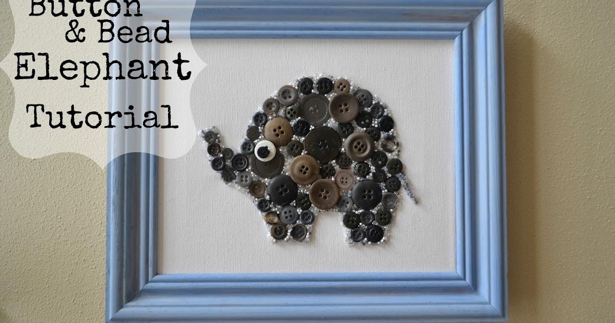 Diy Wall Art For Nursery : Easy diy button and bead elephant nursery wall art