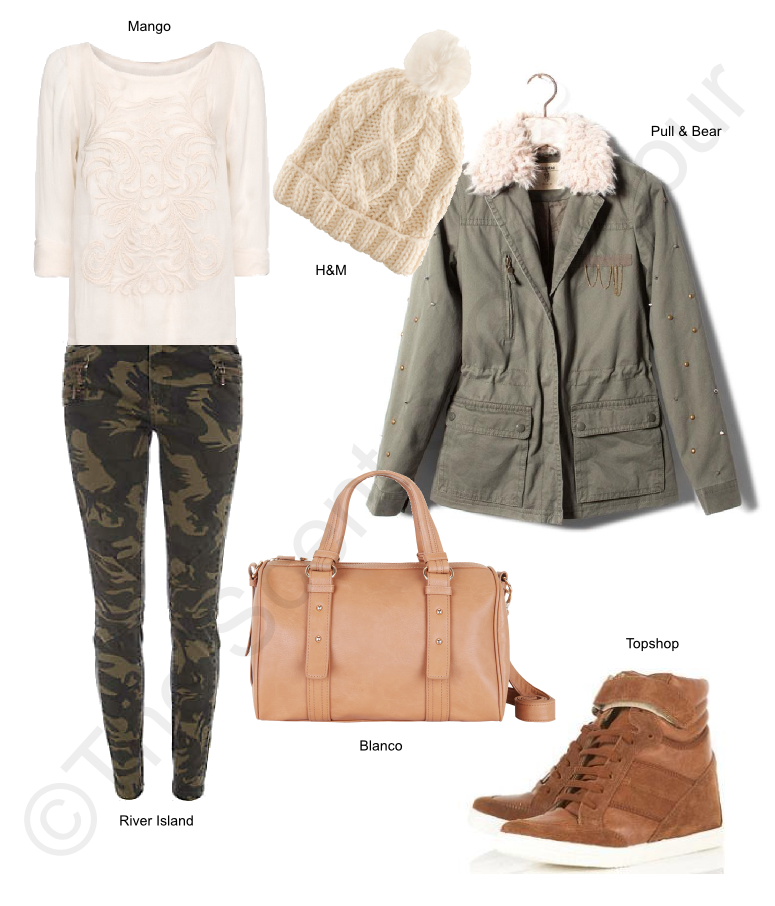 topshop wedge sneakers, river island pants, suiteblanco bag, pull and bear coat, mango blouse, h&m beanie