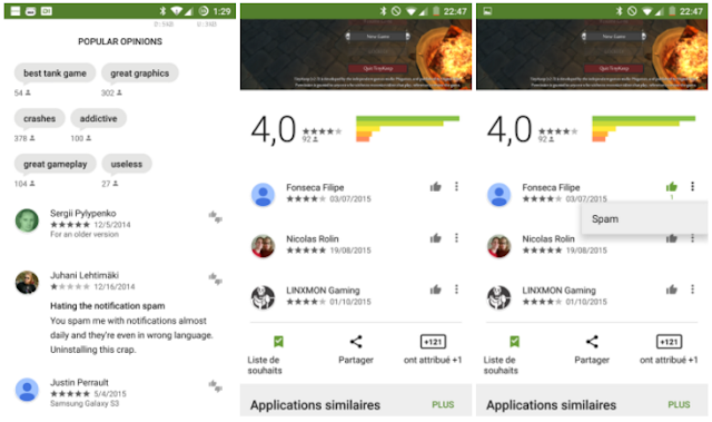 Google Play Store Got new Thumbs-up and Spam Feedback Feature in Comments Section