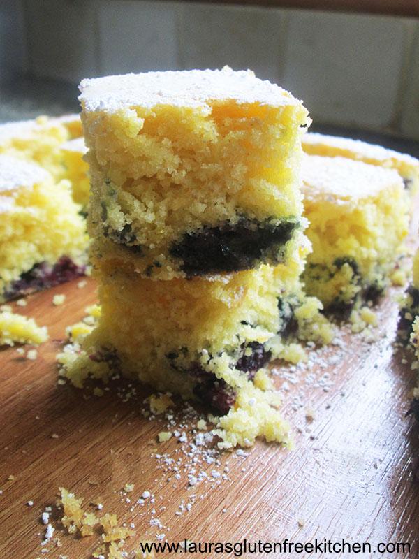Gluten Free Blueberry and Orange Madeira Squares