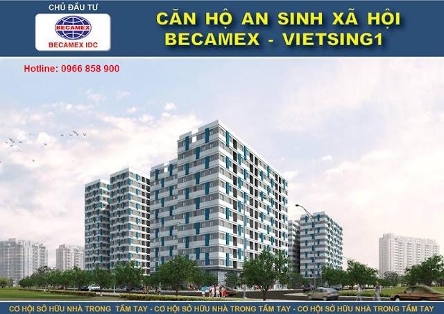Phối cảnh căn hộ an sinh xã hội Becamex khi hoàn thành tại KDC Việt Sing, Thuận An, Bình Dương