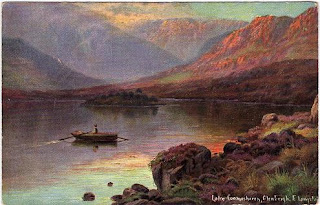 Vintage postcard of Lake Coomasharen, Glenbeigh, by the artist Ernest Longstaffe