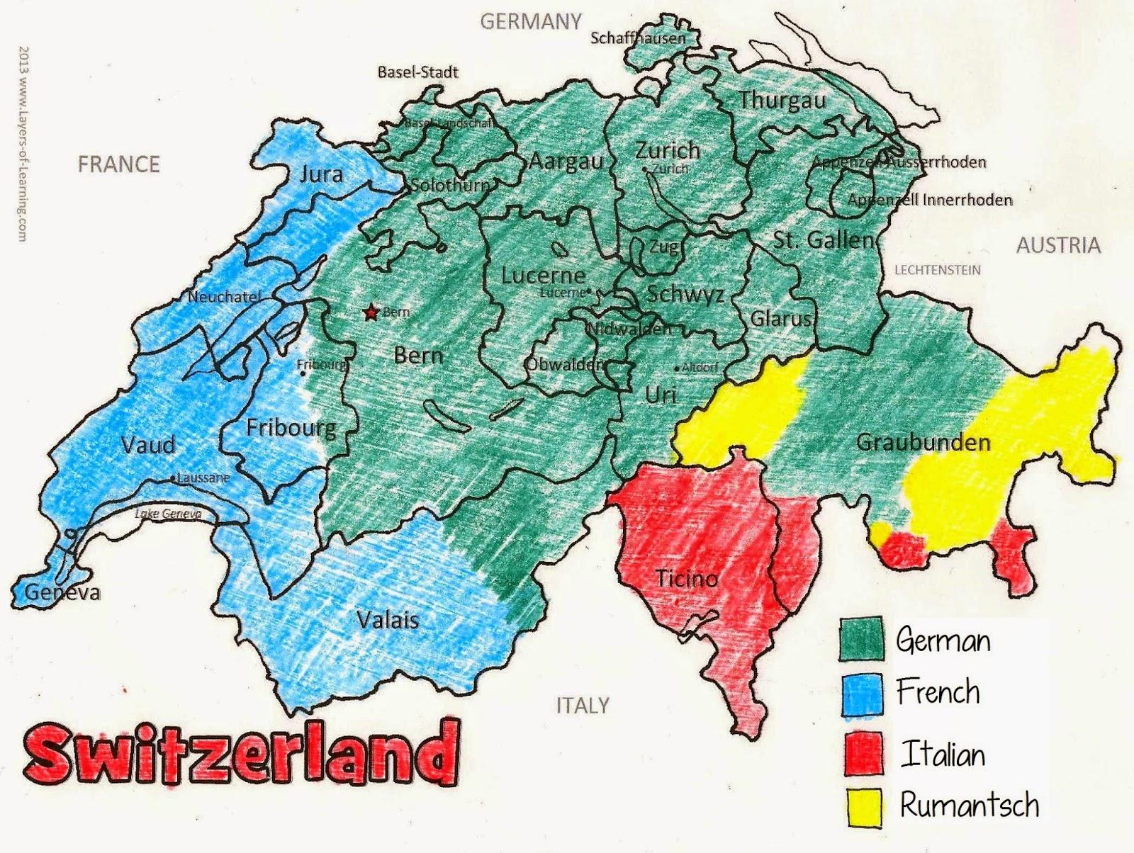 Switzerland Map Of Languages - Languages map of switzerland