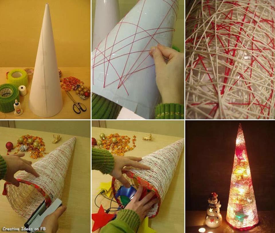 Lampara de navidad con lana manualidades paso a paso - Manualidades de navidad paso a paso ...