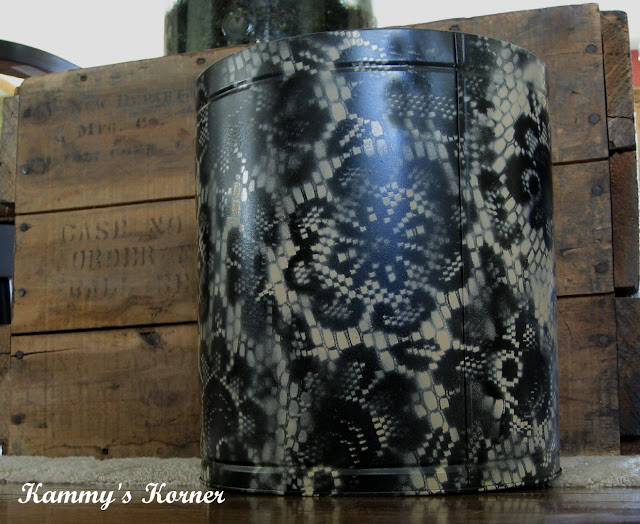 Doily Spray Painted Tins from Kammy's Korner