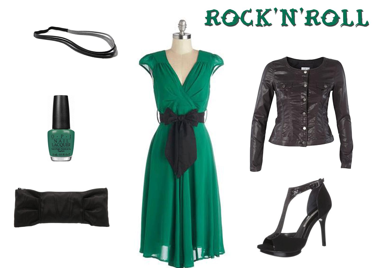 look rock tenue mariage vert noir