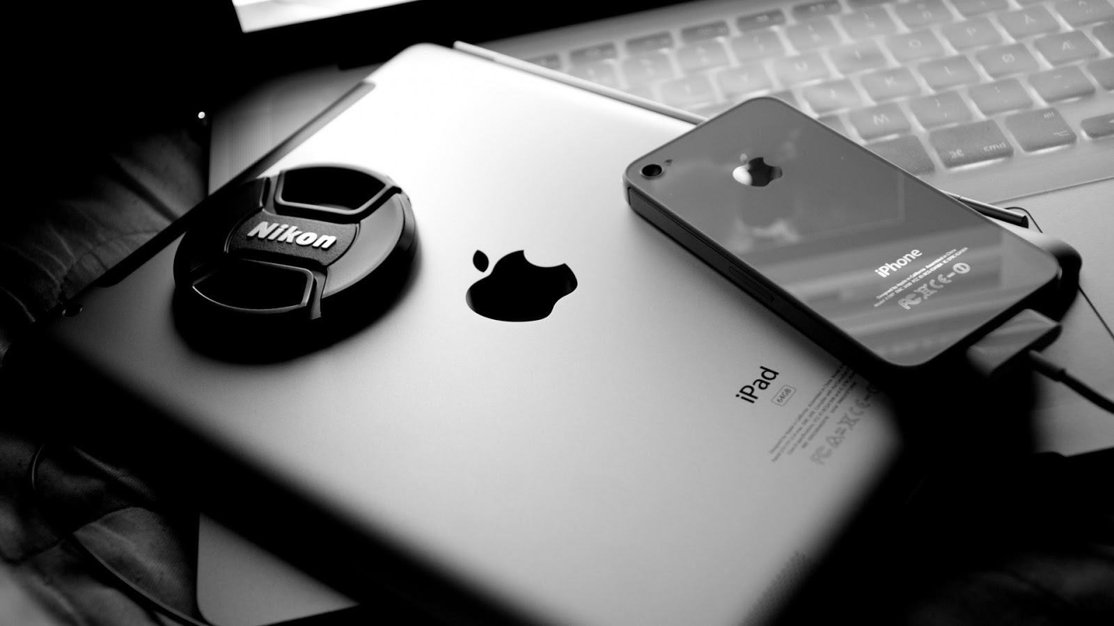Apple Gear and Nikon in Black and White