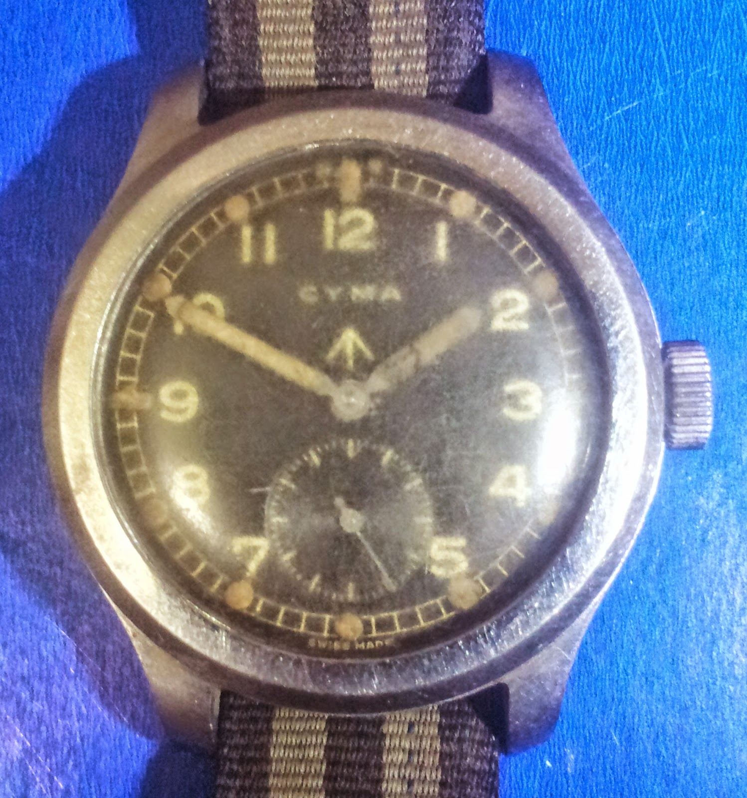 silvium antiques: vintage cyma 1940s www Broad Arrow Military Watch