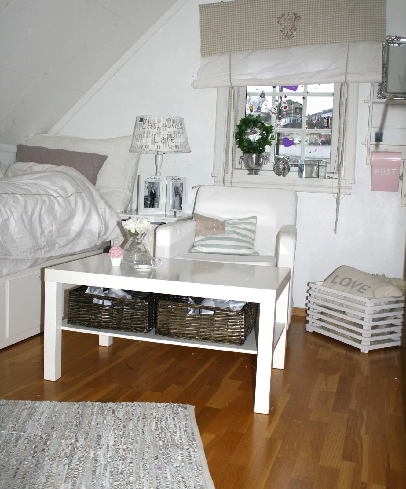 P? dette lille rom har vi plass til En seng, stol, bord, tvskap.