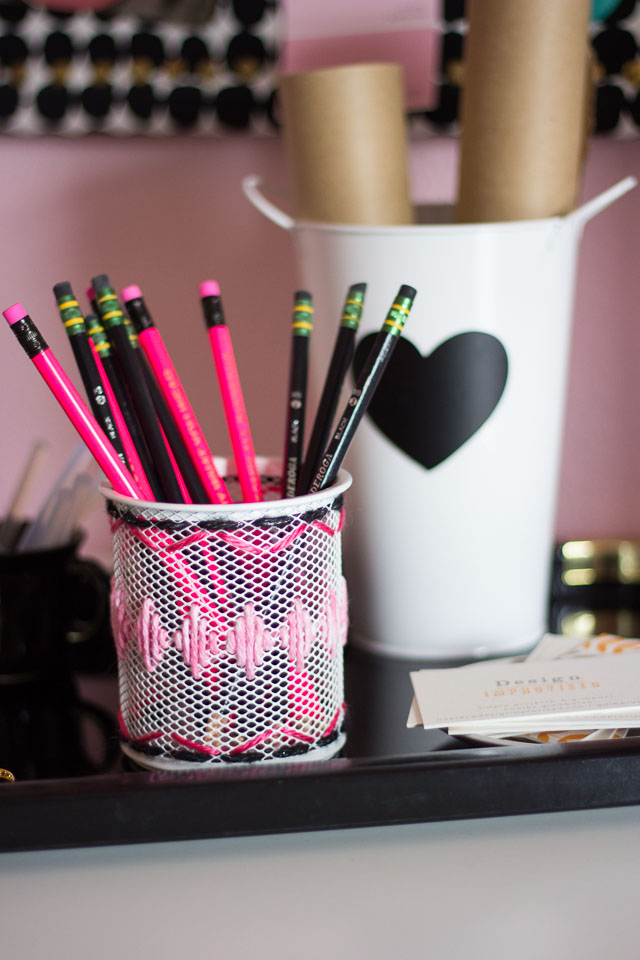Yarn Embroidered Desk Accessories with The Container Store
