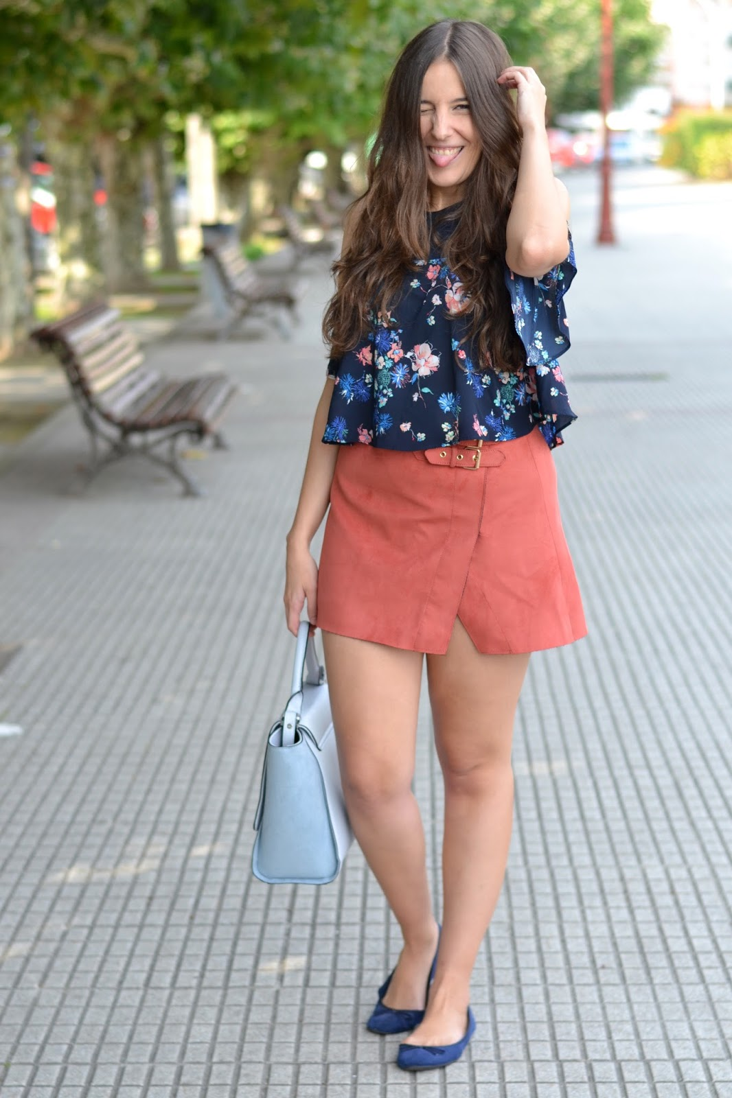 outfits bershka suede skirt