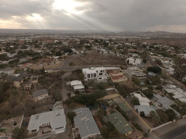 Namibia: Windhoek Eros Park area aerial photo gallery just before the rain