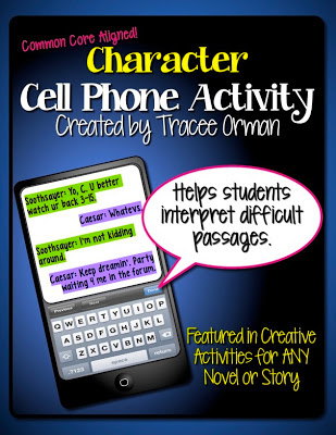 Character Cell Phone Activity http://www.teacherspayteachers.com/Product/Character-Cell-Phone-Activity-Common-Core-Aligned