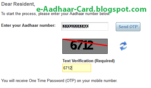 Aadhaar Card Online Correction - OTP