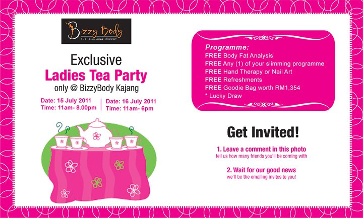 Bizzy Body Exclusive Tea Party Invitation and Freebies Giveaway – Ladies Tea Party Invitations