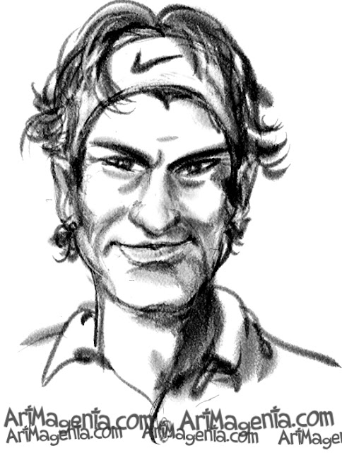Roger Federer caricature cartoon. Portrait drawing by caricaturist Artmagenta