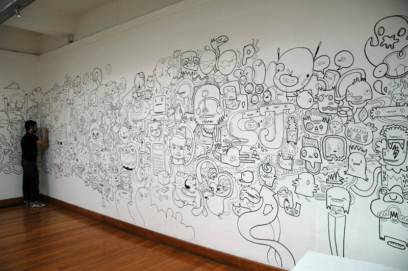 Jabber doodle illustration and street art - Disegnare sul muro di casa ...