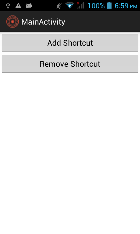 how to create shortcut in android app