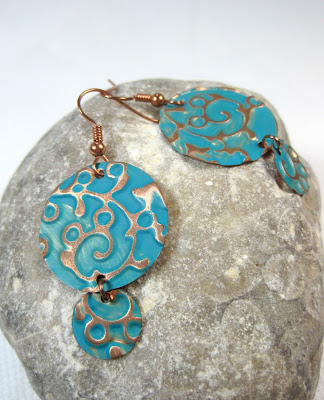Embossed Metal Disc Earrings
