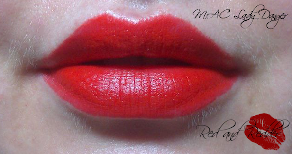 MAC Lady Danger bright pillar box red lipstick swatch and review