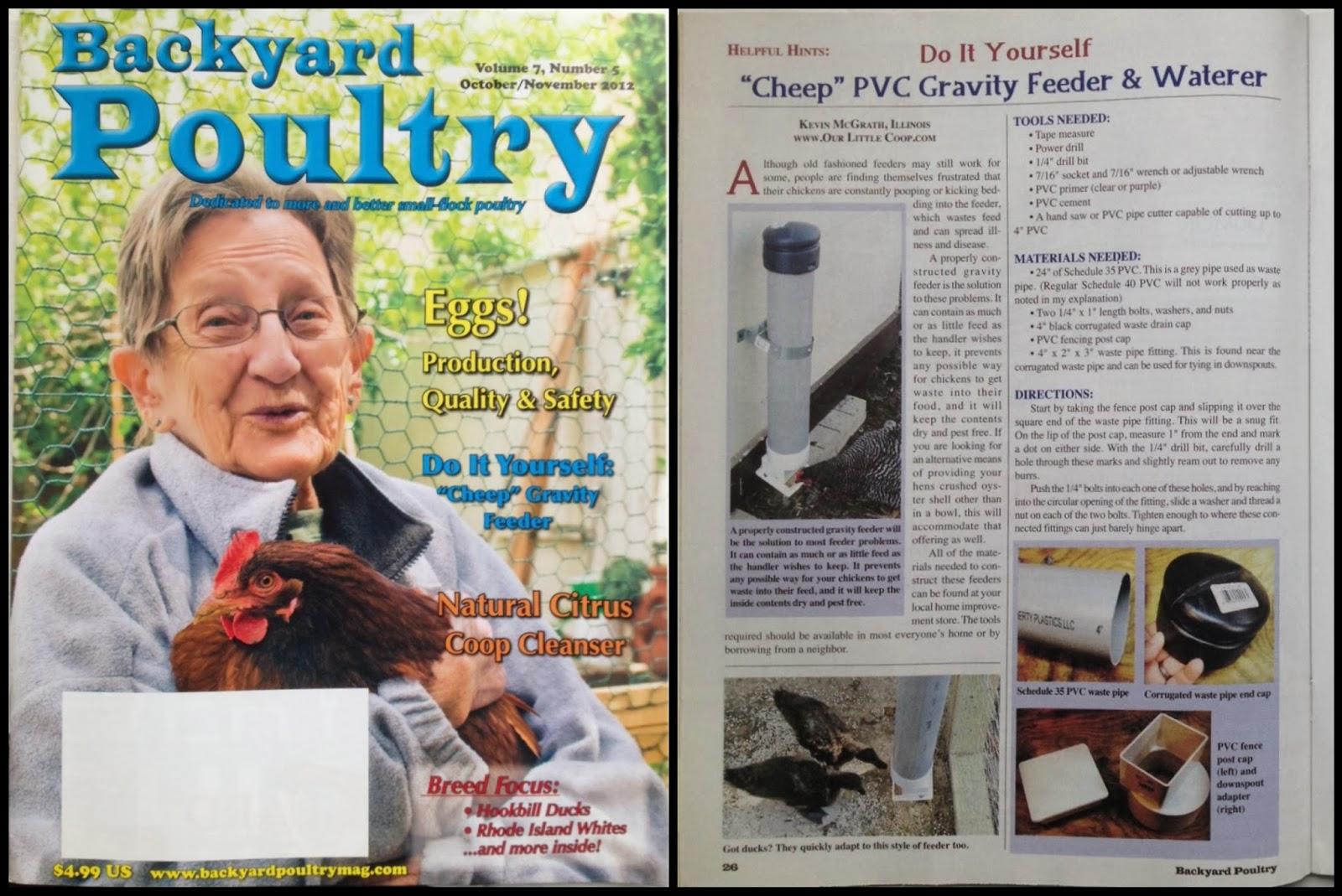 backyard poultry magazine october november 2012 edition helpful hints