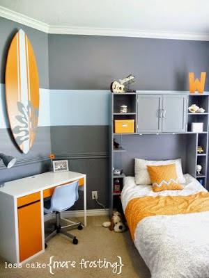 dicas incríveis para decoração de quarto de meninos - quarto surfista