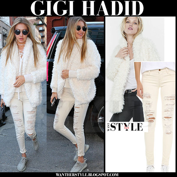 Gigi Hadid in cream fluffy furry express sherpa jacket and cream ripped j brand 620 jeans what she wore model style