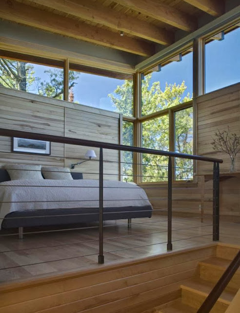 modern lake house bedroom