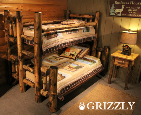 Rocky top log furniture railing blog 5 inspired rustic for Log cabin style bunk beds