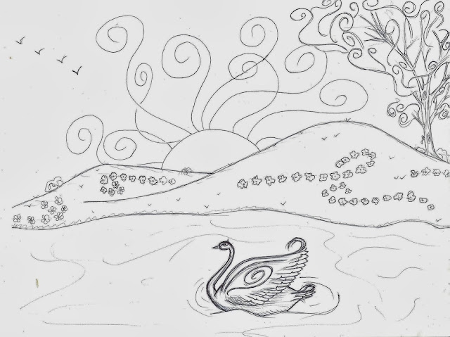 swan, coloring page,