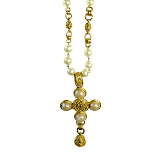 Vintage 1980's long gold & pearl Chanel cross necklace