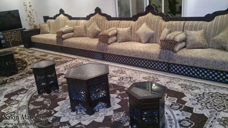 Salon marocain beige en motif – Salon marocain moderne 2014