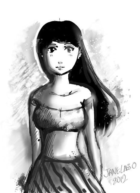 Sketch de mujer en SketchBook Pro , escala de grises
