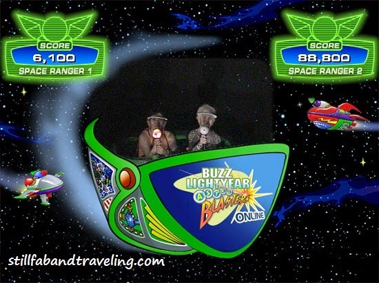 Photo taking while riding the Astro Blaster ride in Disneyland