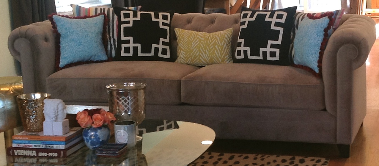 The Black Ribbon Trim Pillows And The Yellow Pillow In The Center Of The  Couch Are From Target (my Favorite Store In The World) And The Blue Pillows  ...