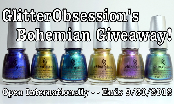 Glitter Obsession's China Glaze Bohemian Luster Chrome Giveaway