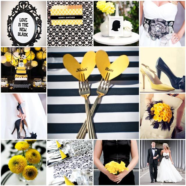 black white yellow wedding
