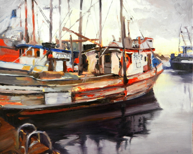 In plein air quileute marina boats la push marine for Fishing boat painting