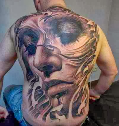 Amazing full back 3D tattoo!