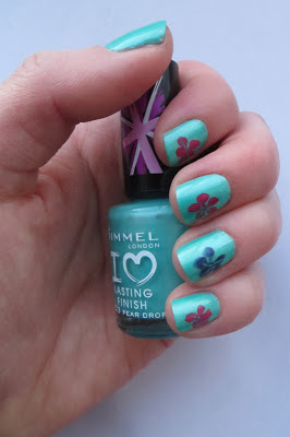 Rimmel Pear Drop flower nail art