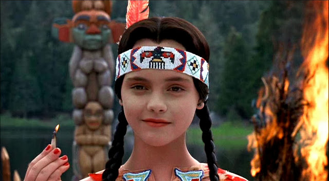 Addams Family Values, official movie, Thanksgiving scene, Pocahontas, Christina Ricci, Wednesday Addams, fire, holding match, setting things on fire, crazy, sadistic