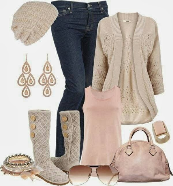 Casual Outfit - Long Sweater and Jeans, Ugg Boots and Handbag with Accessories