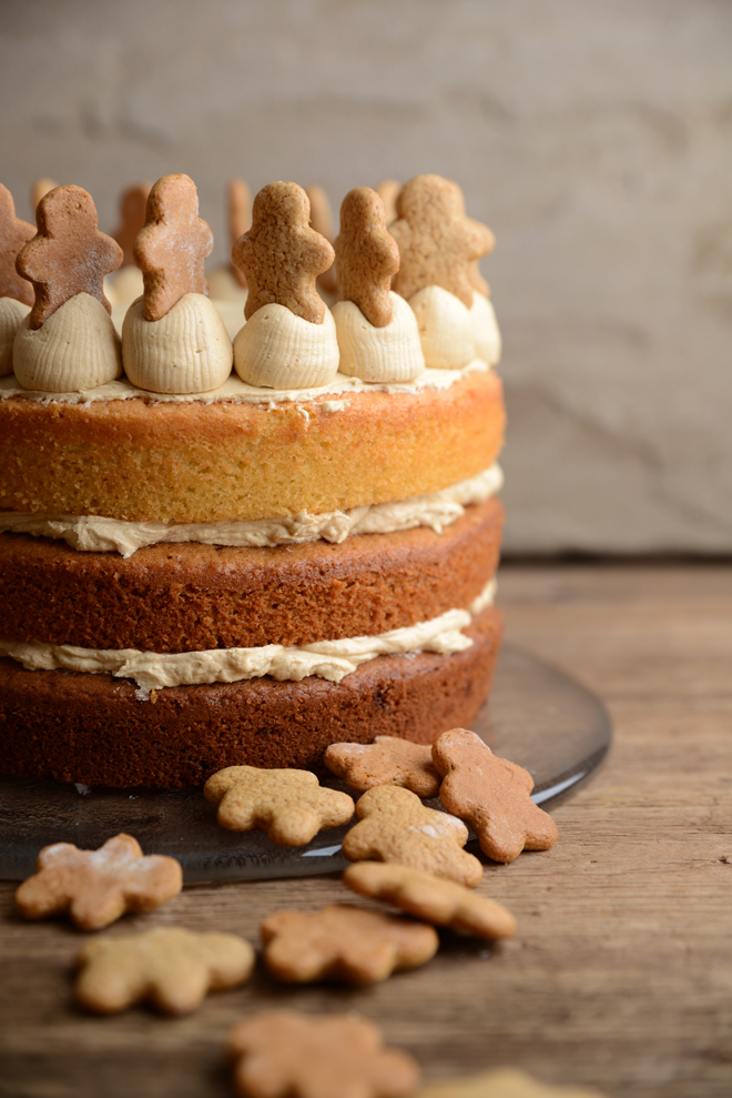 Waffle Whisk Gingerbread Latte Layer Cake With Gingerbread Men