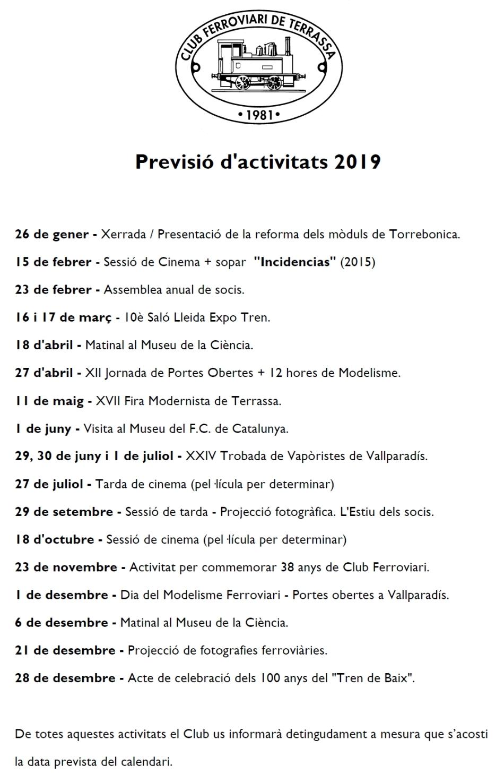 Previsió d'activitats pel 2019 - Actualització del 17-GEN-2019
