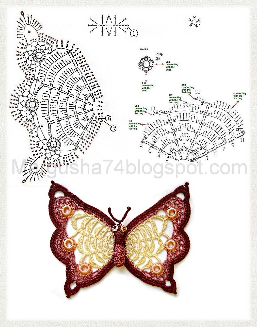 Бабочка крючком пошаговое фото