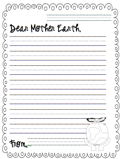 earth day writing paper Use our earth day activities to compliment the mini book materials: printer, paper (you can use a slightly heavier paper for a longer lasting book.
