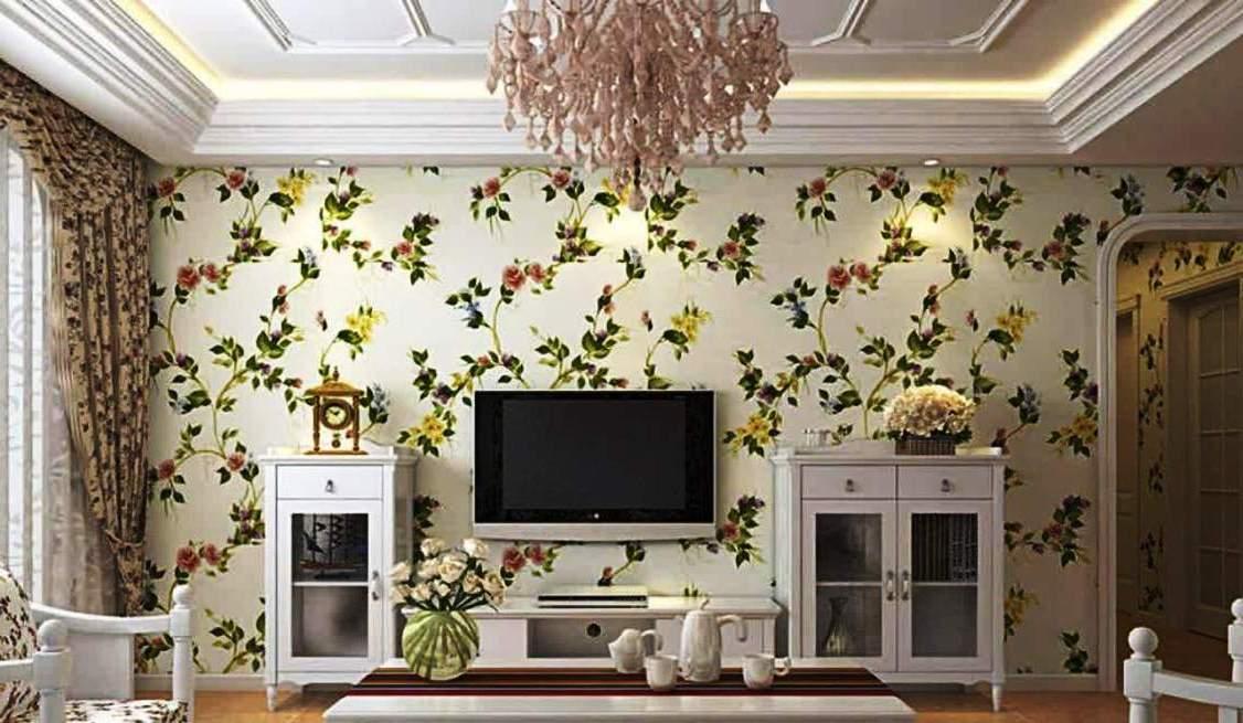 Wallpaper Dinding Ruang Tamu Minimalis Bunga