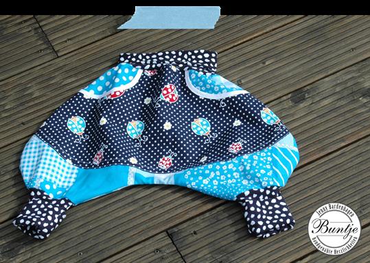 Pumphose Ballonhose Sarouelhose Kind Baby Junge Mitwachsen türkis blau Käfer Bündchen handmade Baumwolle 80 86