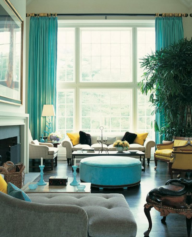 Colorful Turquoise And Yellow Living